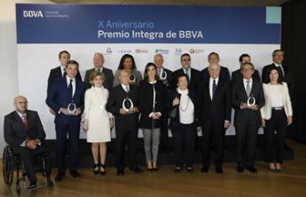 Imagen de los galardonados en la entrega del premio